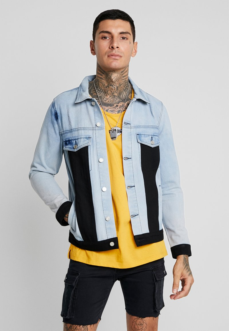 boohoo MAN - BLOCK PANEL JACKET - Jeansjacke - washed blue