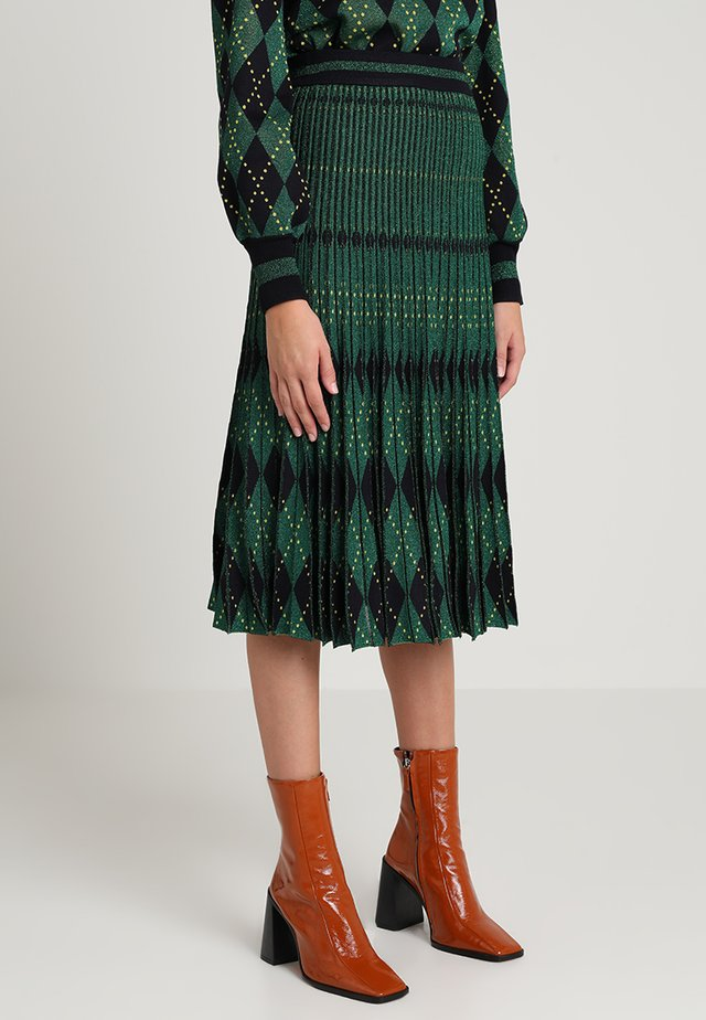 CYRILA - A-line skirt - dark green/dark blue