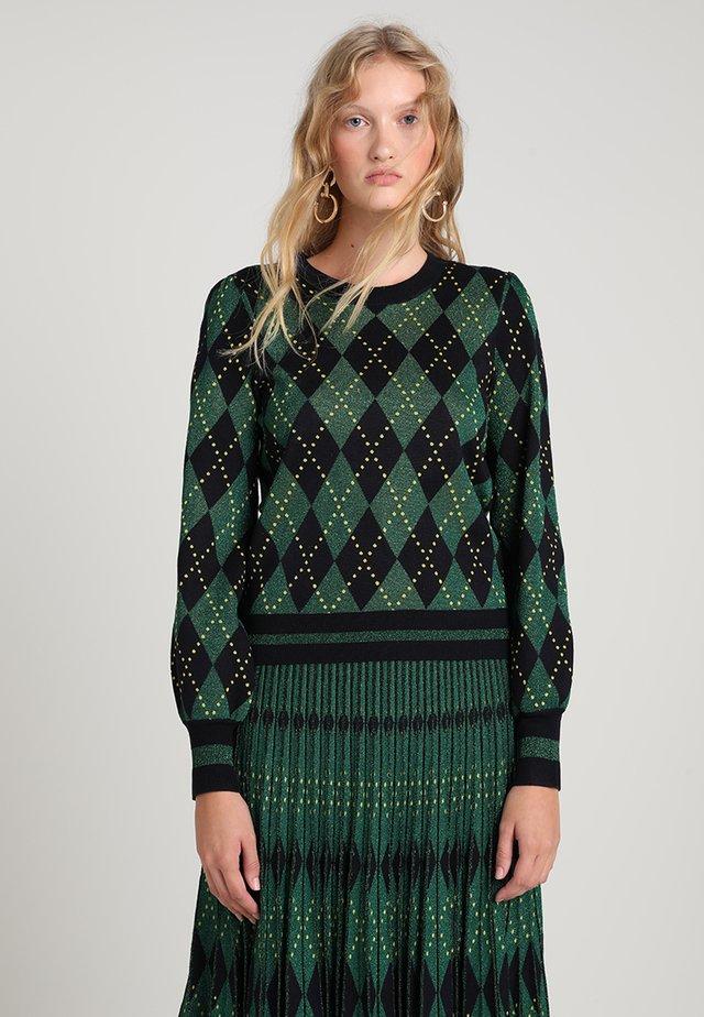 CADILA - Stickad tröja - dark green/dark blue