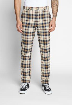 CHECK SLIM TROUSER - Pantaloni - brown