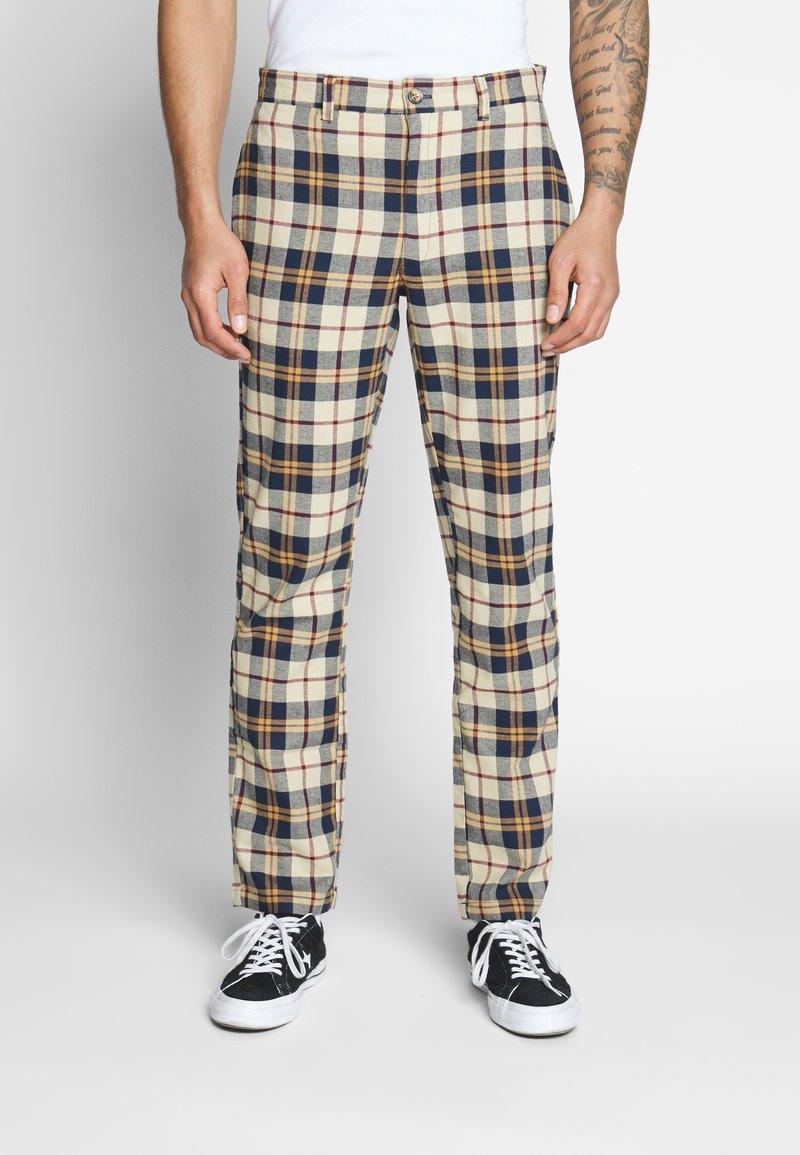 Brooklyn Supply Co. - CHECK SLIM TROUSER - Kalhoty - brown