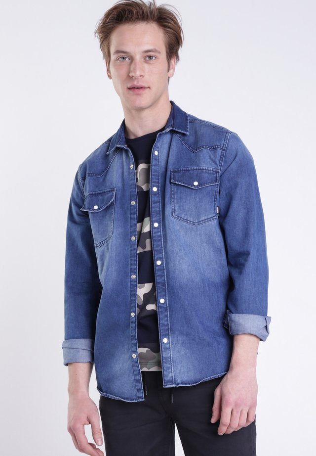 Hemd - stone blue denim
