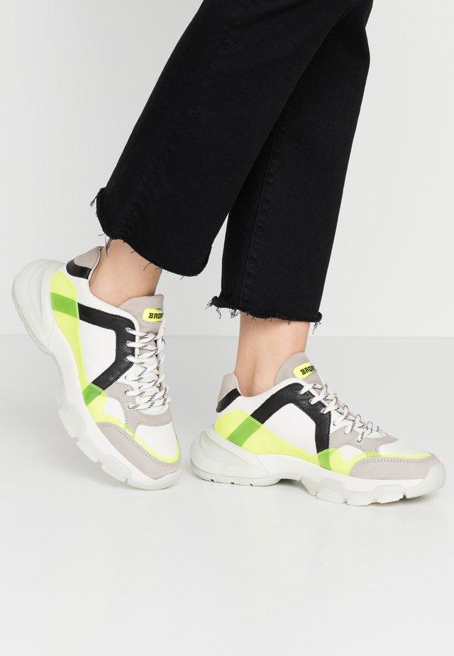 SEVENTY STREET - Sneakers - offwhite/neon yellow/black