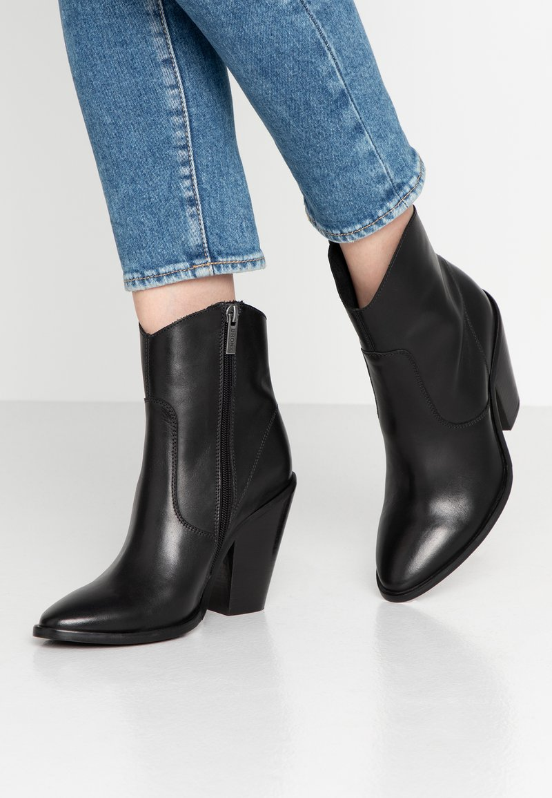 Bronx - TEX-HIGH - High heeled ankle boots - black