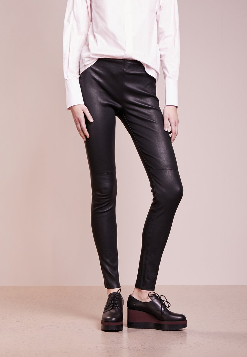 Bruuns Bazaar - CHRISSY  - Leather trousers - black