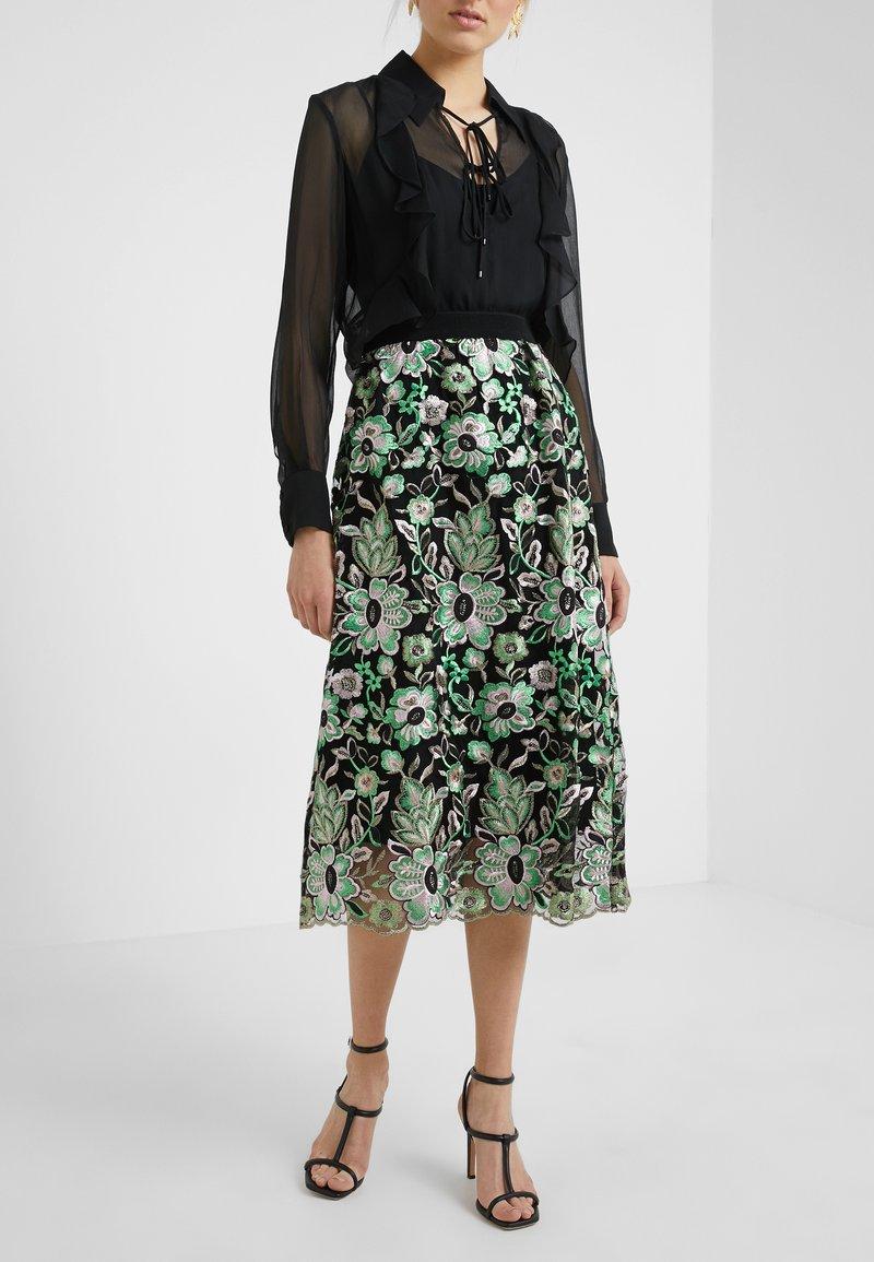 Bruuns Bazaar - TULLAH PALMA SKIRT - A-line skirt - black/green
