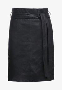 Bruuns Bazaar - PECAN LULLIE  - Kožená sukně - black - 4