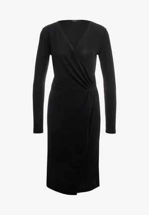 METALLIC RIBA DRESS - Kjole - black/silver