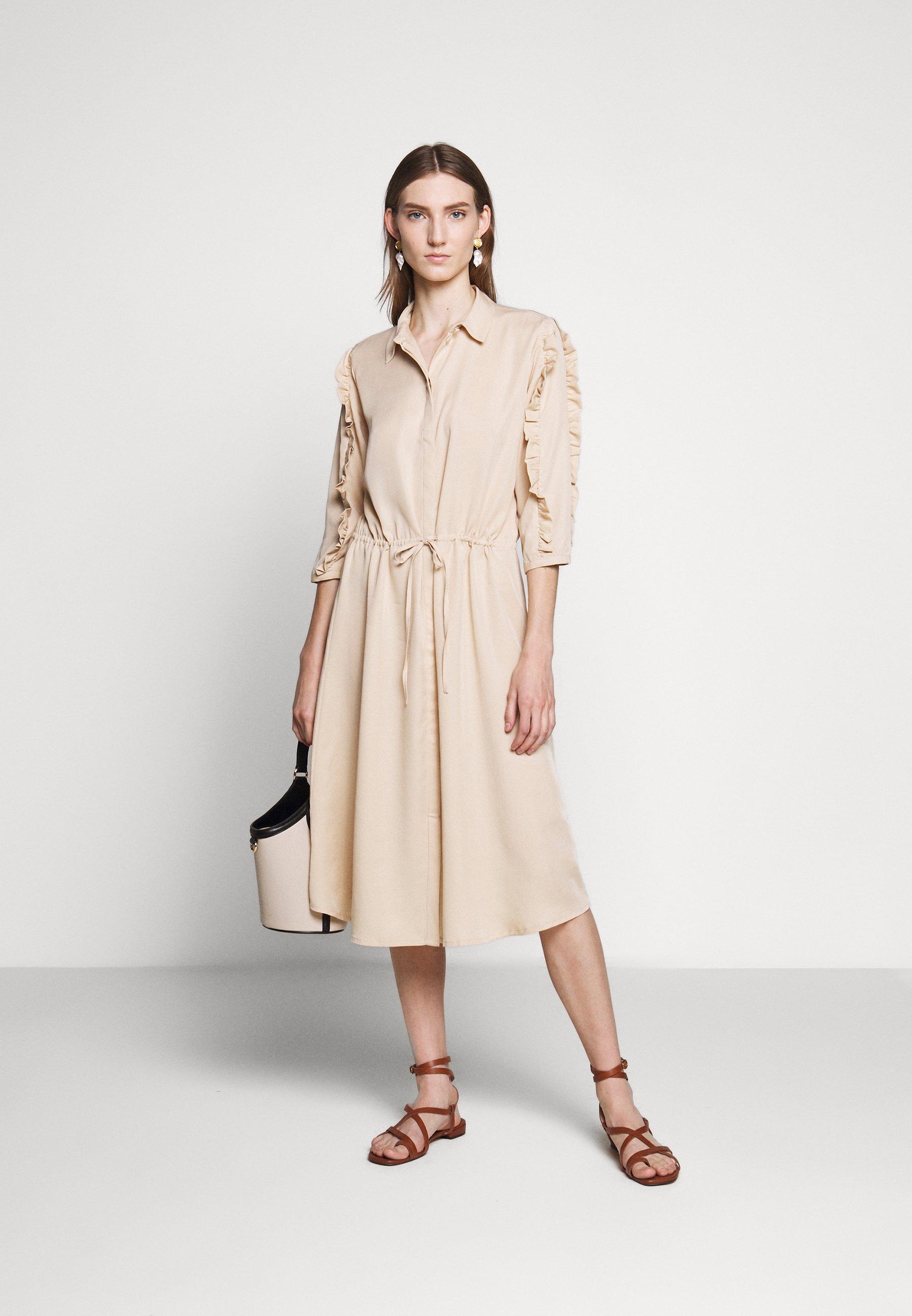Bruuns Bazaar Laera Deep Dress - Abito A Camicia Sand tNKme
