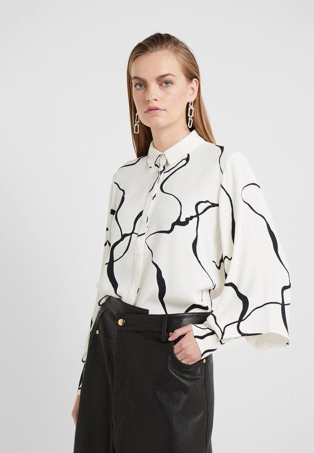 BONNE ABSTRACT SHIRT - Button-down blouse - snow white