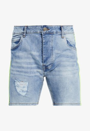 JACKTAPE - Shorts di jeans - blue wash/yellow stripe