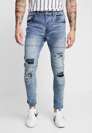 LOUIS - Skinny džíny - blue wash/black