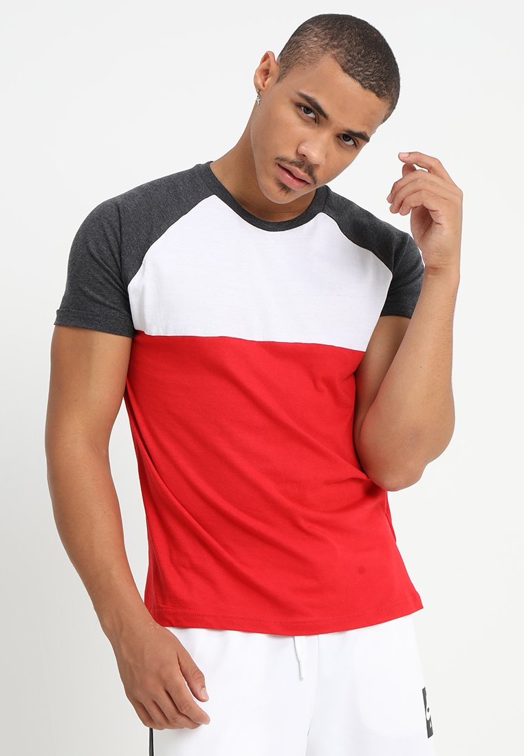 Brave Soul - CIRCUIT - T-shirt print - white/charcoal marl/red marl