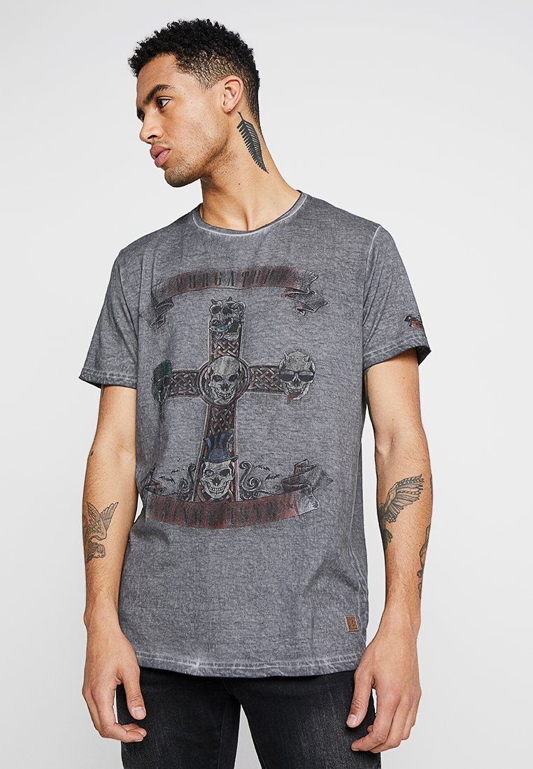 Brave Soul - CROSS - Print T-shirt - charcoal
