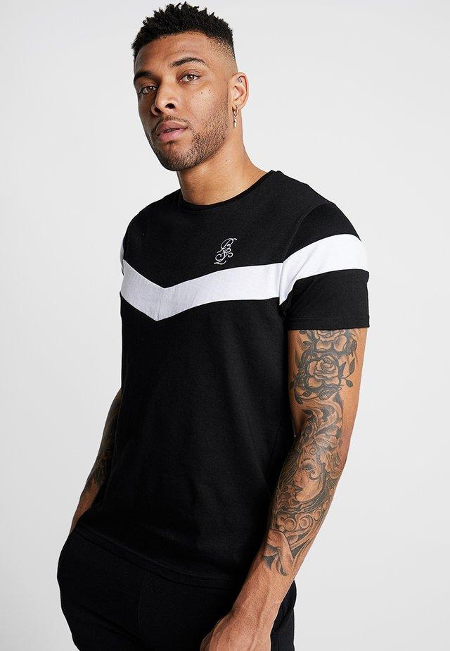CHEVRON - T-shirt z nadrukiem - black/white