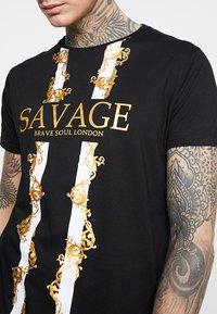 Brave Soul - SAVAGE - T-shirt con stampa - black - 4