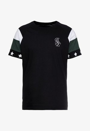 STAR - T-shirt z nadrukiem - black/white/bottle green