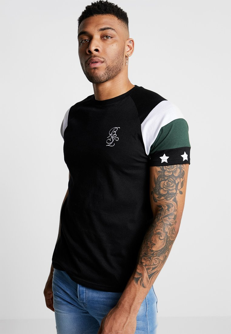 Brave Soul - STAR - Camiseta estampada - black/white/bottle green