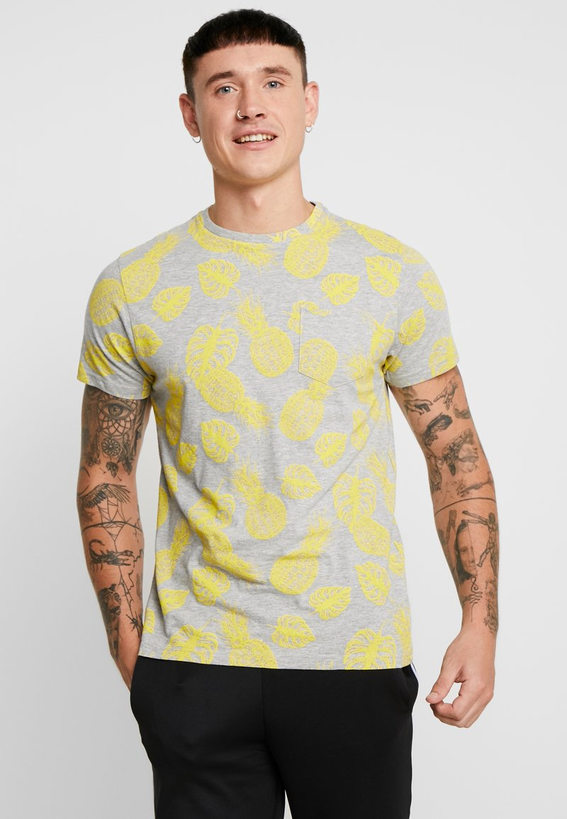 Brave Soul - FRUIT - Printtipaita - light grey marl/yellow