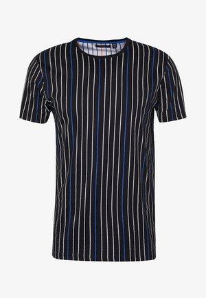 DAVENPORT - T-shirt con stampa - black/white/blue