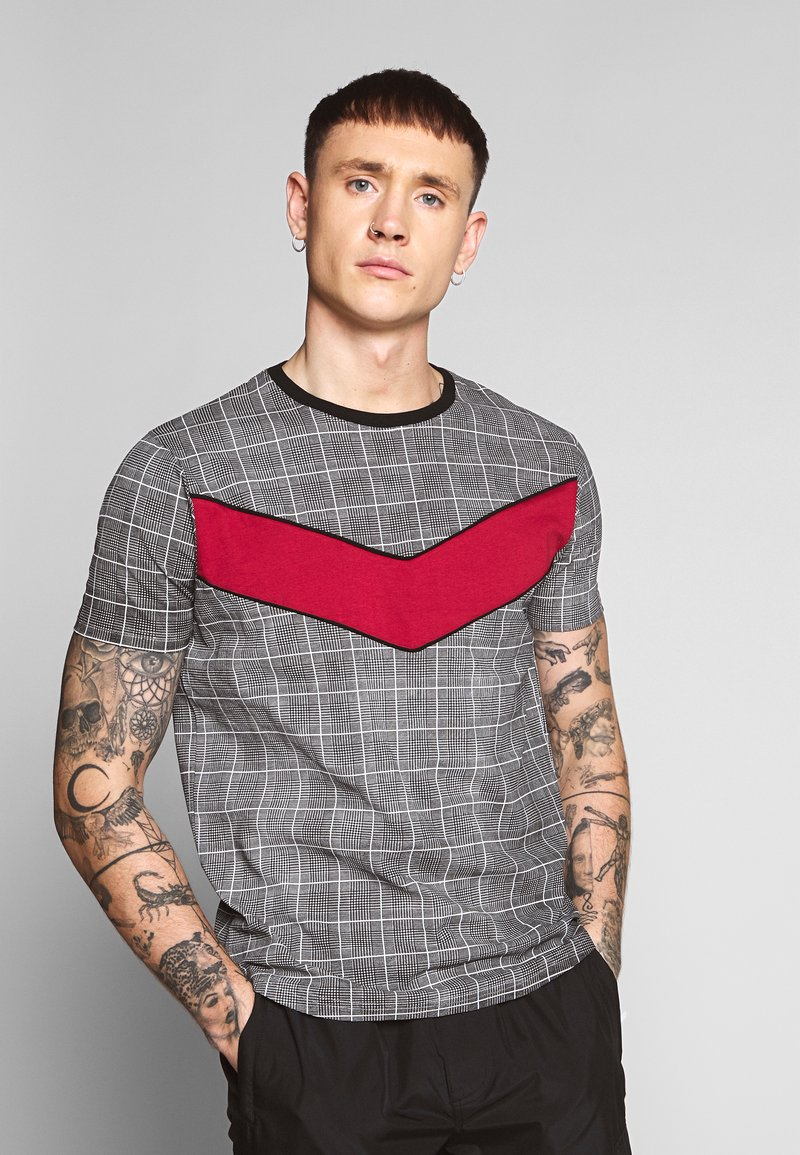 Brave Soul - T-shirt con stampa - black/white/red