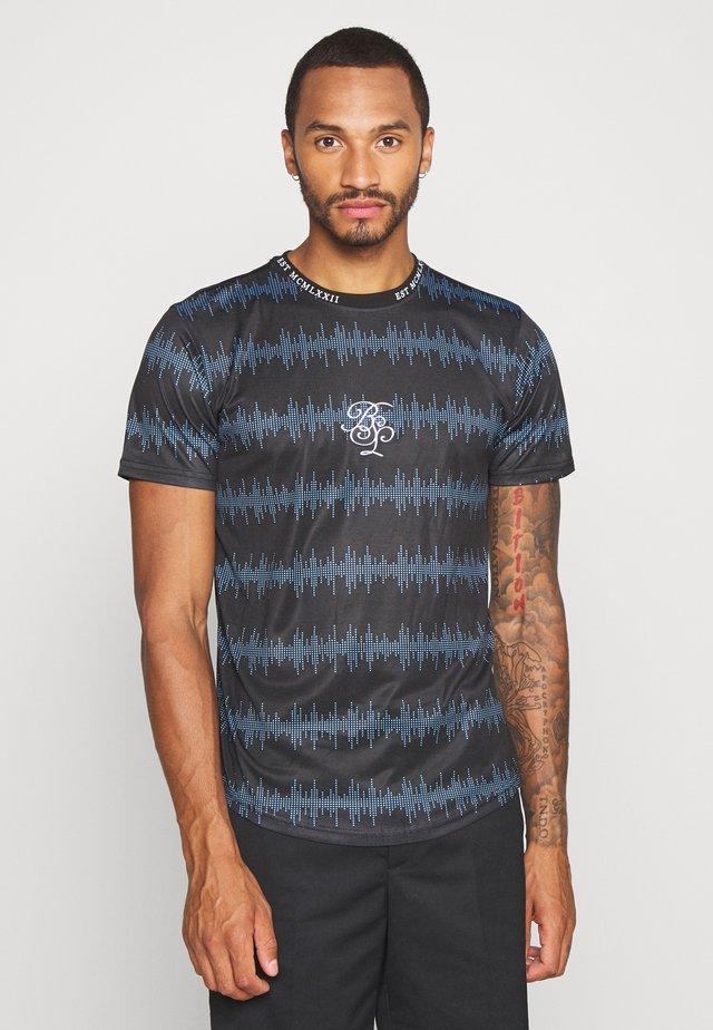 WAVE - Print T-shirt - black/ blue