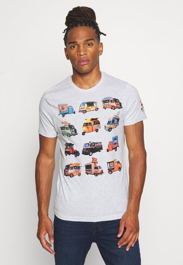 FOODX - T-shirt print - ecru marl