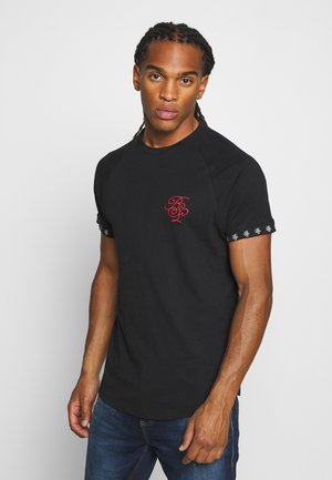 Print T-shirt - jet black/ red