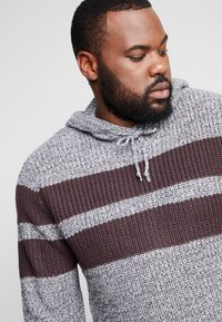 Brave Soul - LYNBROOKE PLUS - Hoodie - grey/ bordeaux - 5