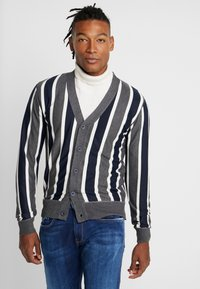 Brave Soul - DUTTON - Cardigan - dark grey marl/navy/ecru - 0