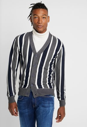 DUTTON - Cardigan - dark grey marl/navy/ecru