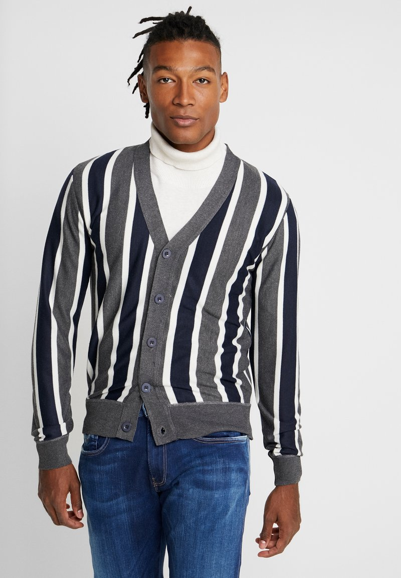 Brave Soul - DUTTON - Cardigan - dark grey marl/navy/ecru