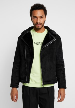 TEXAS - Faux leather jacket - black