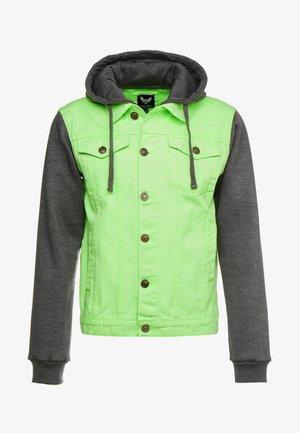 HUDSONNEON - Denim jacket - neon green/dark grey