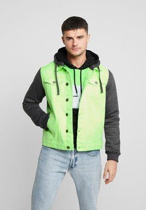 HUDSONNEON - Jeansjakke - neon green/dark grey
