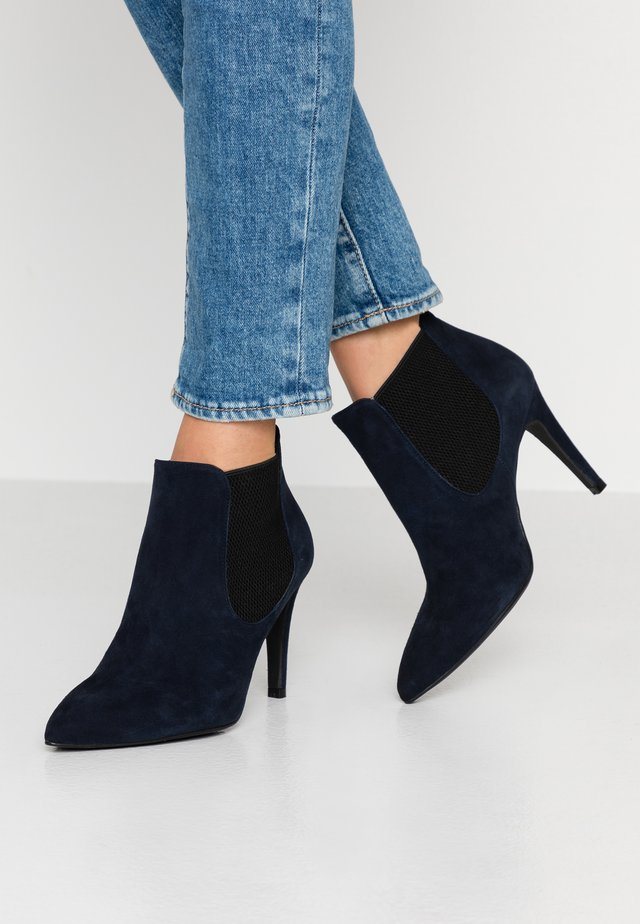 WIDE FIT DIANBO - High heeled ankle boots - blue navy