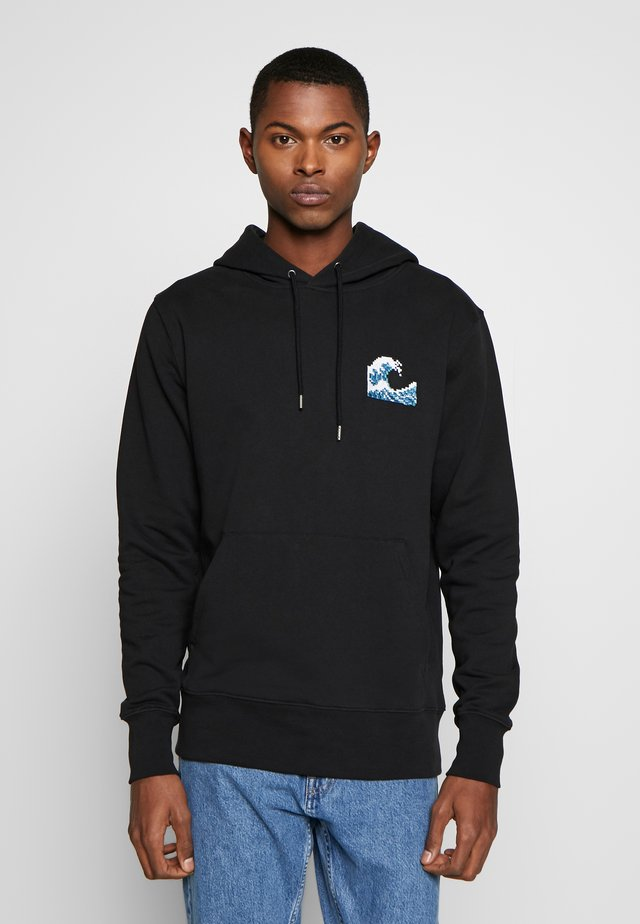 HOODIE WAVE SMALL - Bluza z kapturem - black