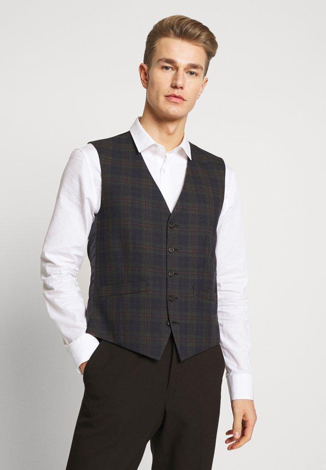 OVERCHECK WAISTCOAT - Suit waistcoat - navy
