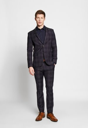 DEEP BROKEN CHECK JACKET AND TROUSER - Suit - blue