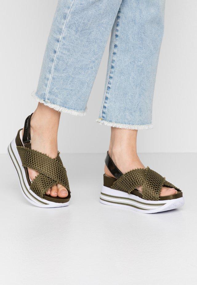 JIL - Korkeakorkoiset sandaalit - dark green
