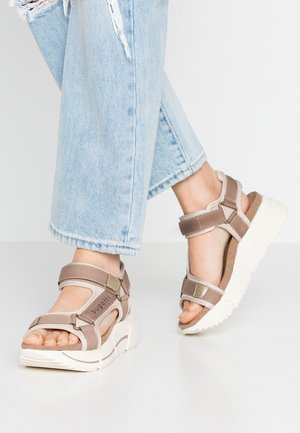 RAJA - Platform sandals - mid brown/sand