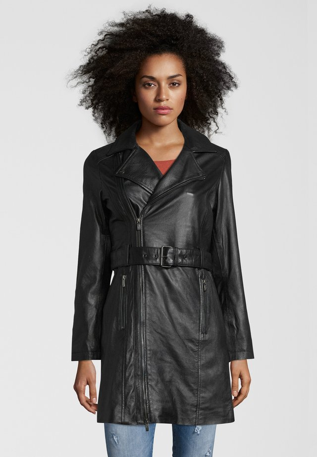 LEDERMANTEL MIDNIGHT - Veste en cuir - black