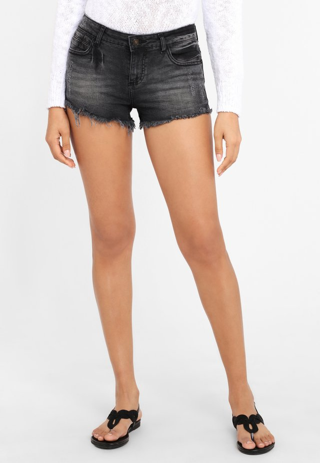 Denim shorts - schwarz-washed