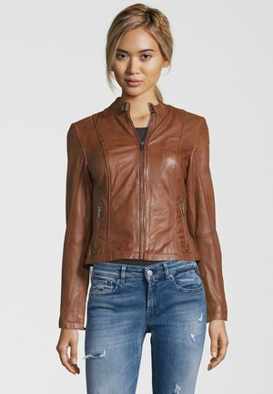 BE LIKED - Leather jacket - cognac