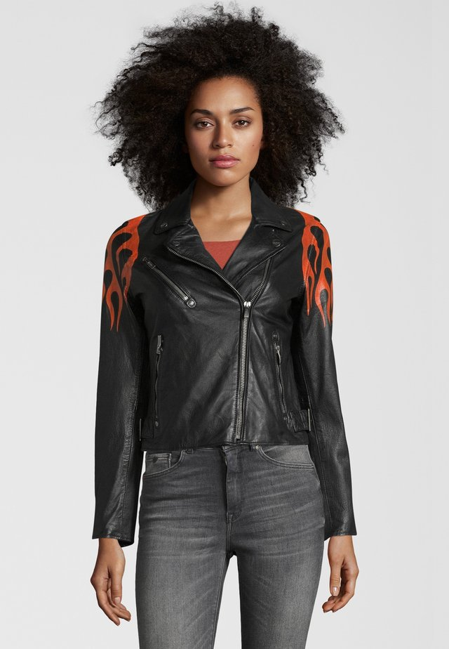 BE HOT - Veste en cuir - black-orange