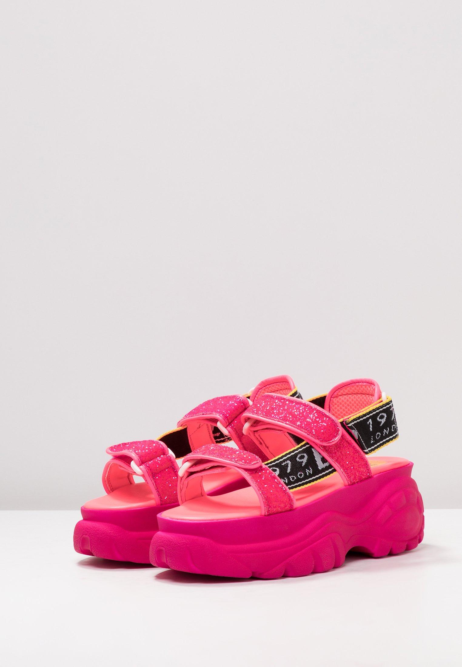 ELLA Sandalen met plateauzool neon pink