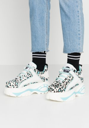 Trainers - cream/black/light blue