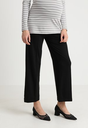 ONCE ON NEVER OFF CROPPED TROUSERS - Spodnie materiałowe - black