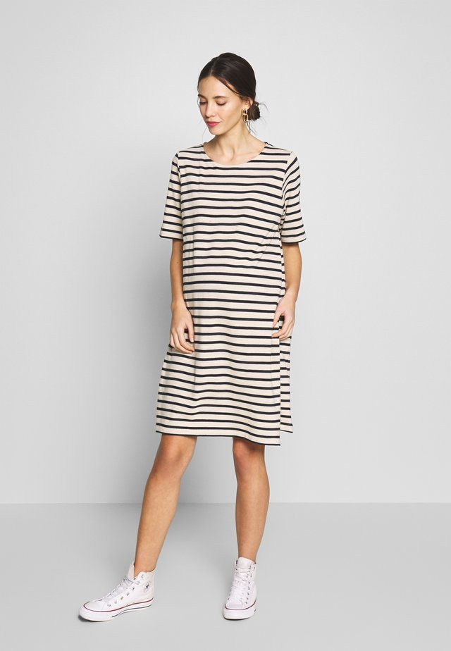 BRETON DRESS - Jersey dress - off white/dark blue