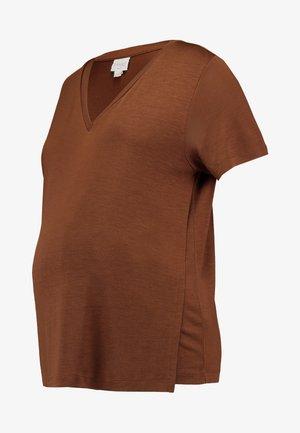 V NECK - Jednoduché triko - cinnamon